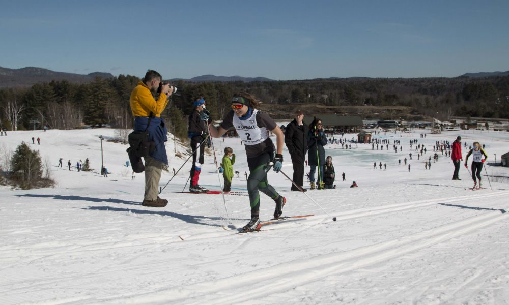 New York state high school nordic skiers race in the state championships at the North Creek Ski Bowl.