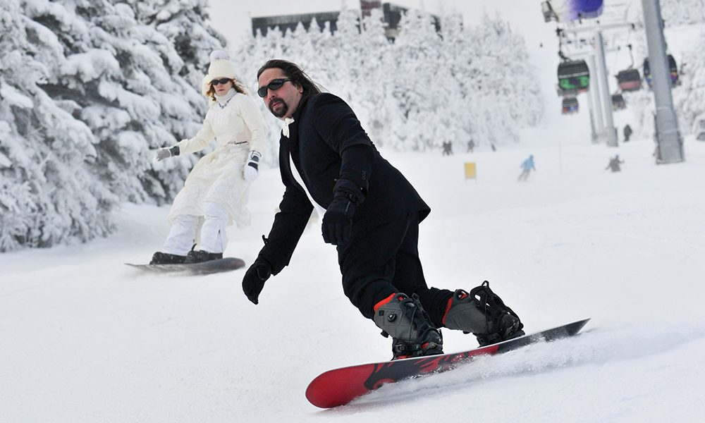 Snowboarding Wedding