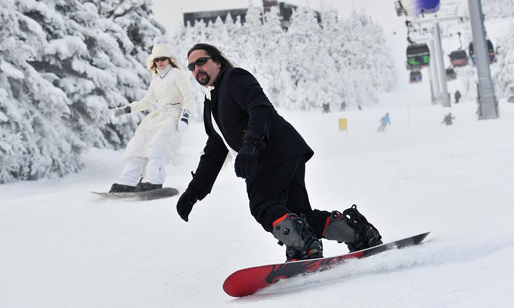 Snowboarding Wedding