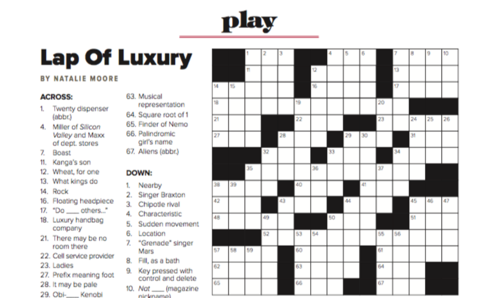 saratoga living' The Luxury Issue: Crossword Puzzle And Word Ladder